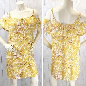 Roxy Yellow Floral Sun Dress Sz 10 ::II14